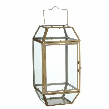 Lanterne à Poser Lampe 12 Vitres Lampion Style Industriel Photophore à Suspendre en Fer et Verre Patiné Laiton 17,5x17,5x44,5cm