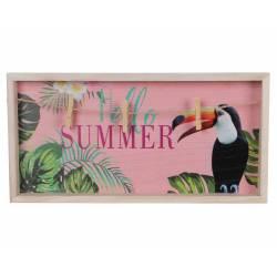 """Pêle Mêle Mural Tableau à Suspendre Motifs Oiseaux Cadre Oiseau Exotique """"Hello Summer"""" Imprimé en Bois Peint Rose 3,5x20x40cm"""