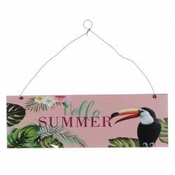 """Pancarte Plaque Murale Enseigne de Porte Décoration à Suspendre Ecriteau """"Hello Summer"""" en Bois dans les Tons Rose 1x10x30cm"""