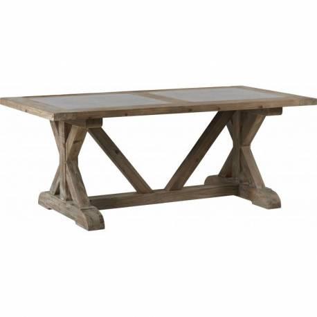 Table Jill Signée Hanjel Table de Salle à Manger Forme Rectangle 10-12 Personnes en Pin Douglas et Pierre Bleue 78x100x200cm