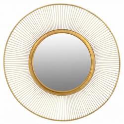 Superbe Miroir Lotus Marque Signature Glace Reflet Ronde Forme Soleil Décoration Murale en Métal Doré 4x93x93cm