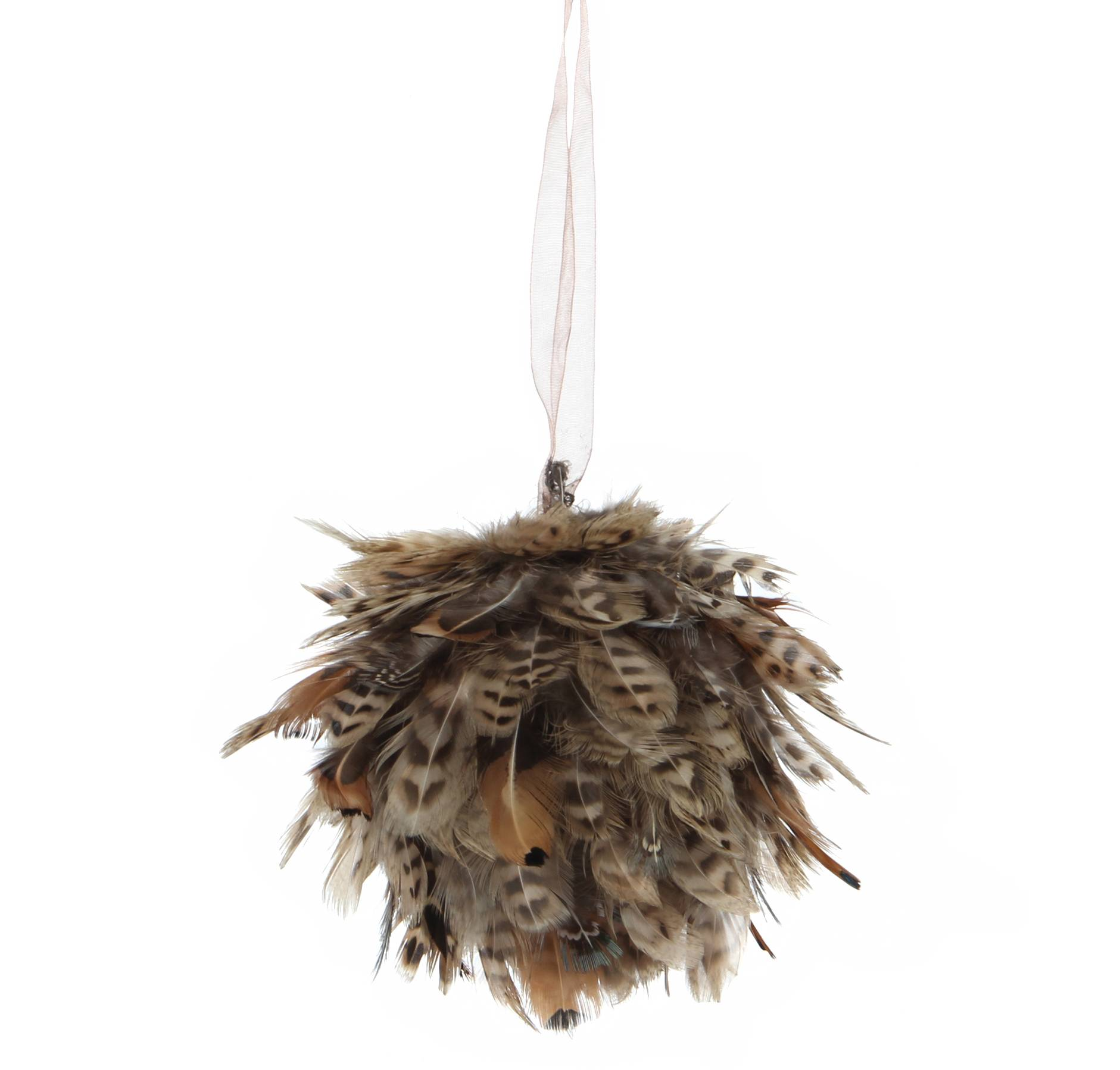 Boule De Plumes Decorative A Accrocher Ou Suspendre Sur Poignet Ou Meuble Decoration De Noel 12cm L Heritier Du Temps