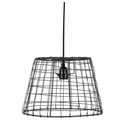 Suspension Contemporaine et Design Plafonnier en Forme de Cage Luminaire à Suspendre en Métal Patiné Gris Satiné 26,5x34x34cm