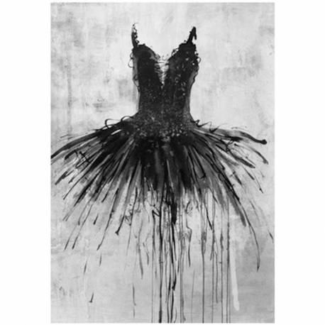 Majestueux Tableau Opéra Grande Peinture de Danseuse sur Toile Représentation Tutu de Danse sur Fond Noir et Blanc 5x100x140cm