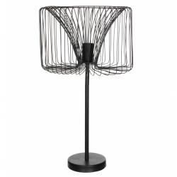 Luminaire Filaire Formes Géométriques Lampe sur Pied Cage Tendance Lampe d'Appoint en Métal Noir Satiné 35x35x62cm