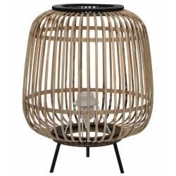 Lampe d'Appoint Design Luminaire à Poser Eclairage Tendance en Rotin et Bois et Métal Noir 30x30x38cm