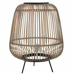 Lampe d'Appoint Design Luminaire à Poser Eclairage Tendance en Rotin et Bois et Métal Noir 43x43x55cm