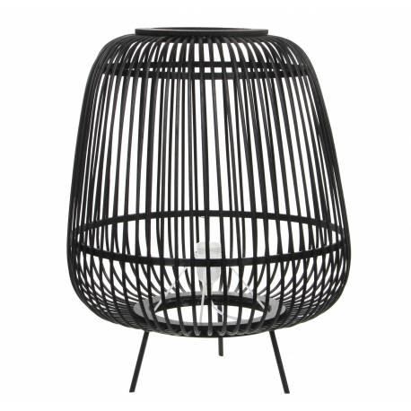 Lampe d'Appoint Design Luminaire à Poser Eclairage Tendance en Rotin Noir et Bois et Métal Noir 43x43x55cm