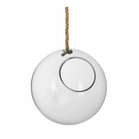 grande suspension globe porte bougie porte plante en verre avec corde 26x26cm l 39 h ritier du temps. Black Bedroom Furniture Sets. Home Design Ideas