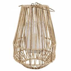 Lanterne à Poser ou à Suspendre Bougeoir Tendance Lampion avec Anse Porte Bougie en Métal Patiné Taupe et Cordelette 23x23x45cm