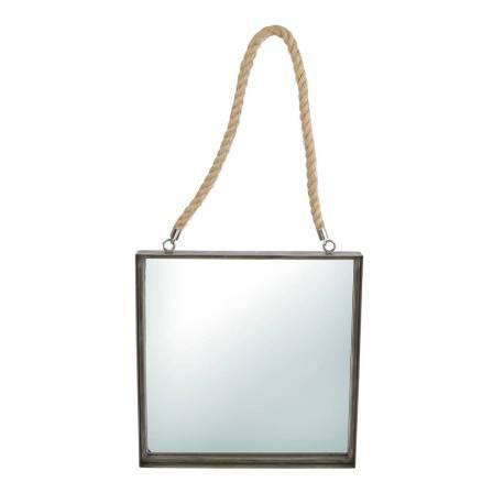 Miroir Mural Glace de Forme Carrée Trumeau en Acier Verni Noir avec Anse en Corde 4x38x79cm