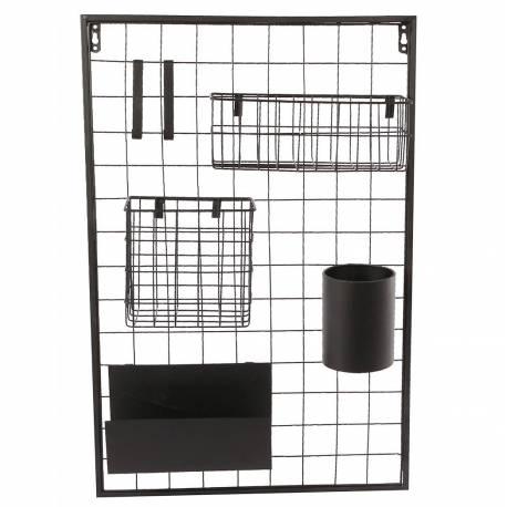Etagère Design et Contemporaine Murale Rangement Rectangulaire Tendance Industriel et Modulable en Métal noir 10x40x60cm