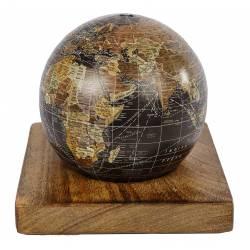 Mappemonde Globe Terrestre à Poser Décoratif Planisphère sur Socle Carré Carte Ronde 15x15x15cm