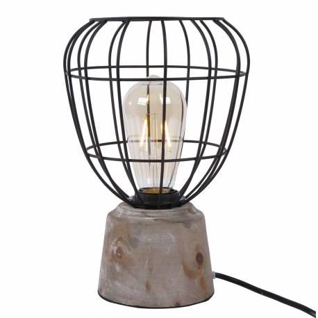 Lampe de Table de Chevet ou de Bureau Luminaire d'Ambiance à Poser en Métal Noir et Socle Bois Patiné 18x18x28cm