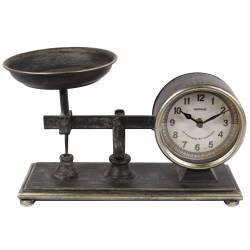 Horloge de Comptoir Style Ancienne Reproduction d'une Balance Pendule à Poser en Fer Patiné Gris 15x20x32cm
