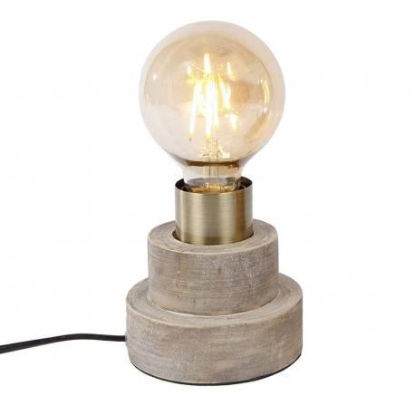Porte Ampoule de Table Lampe d'Appoint de Bureau Luminaire Socle Rond à Poser en Bois Patiné Clair 10x10x11cm