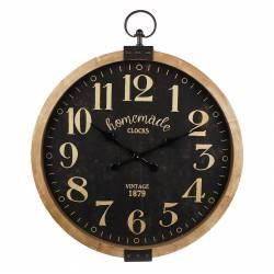 Horloge Géante Murale Pendule Ronde Vitrée Style Industriel ou Vintage en Bois Vieilli et Fer Patiné Marron 7,5x73,5x90cm