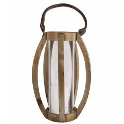 Lanterne Décorative cylindrique Lampion Anse en Cuir Bougeoir à Suspendre à Poser en Bois Naturel et Globe en Verre 23x23x48cm