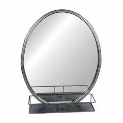 Miroir Mural de Forme Ovale Glace avec Etagère de Rangement Trumeau en fer Patiné Gris Alu 12x40,5x50cm