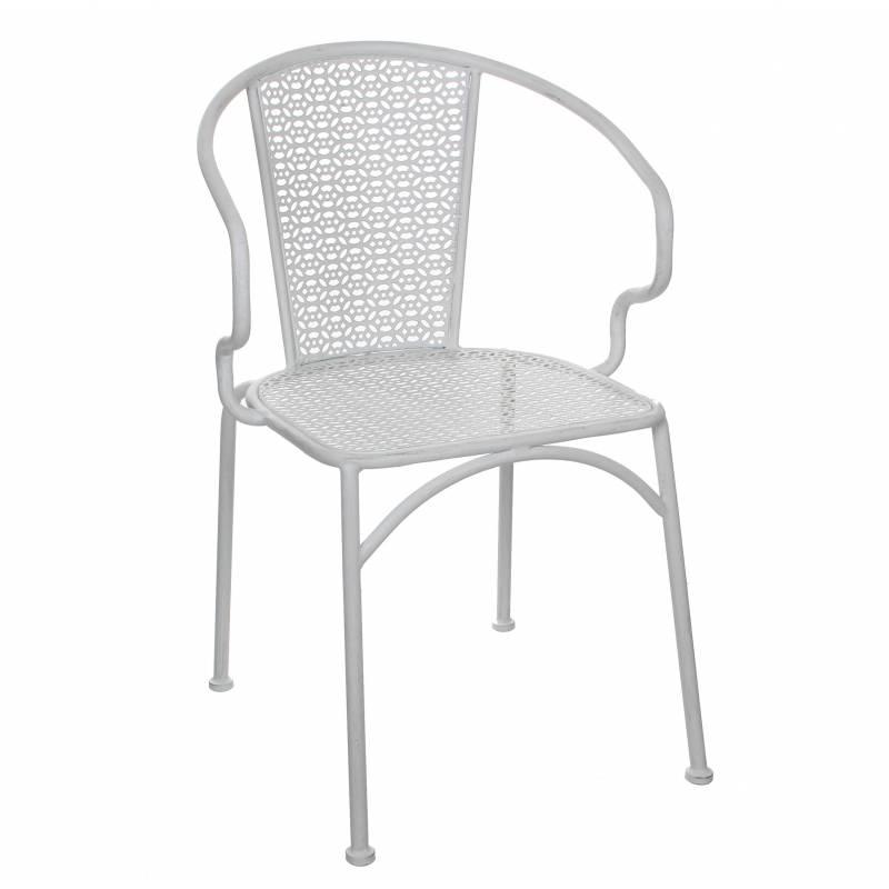 chaise de salon de jardin si ge de salon int rieur ext rieur fauteuil en m tal patin blanc. Black Bedroom Furniture Sets. Home Design Ideas