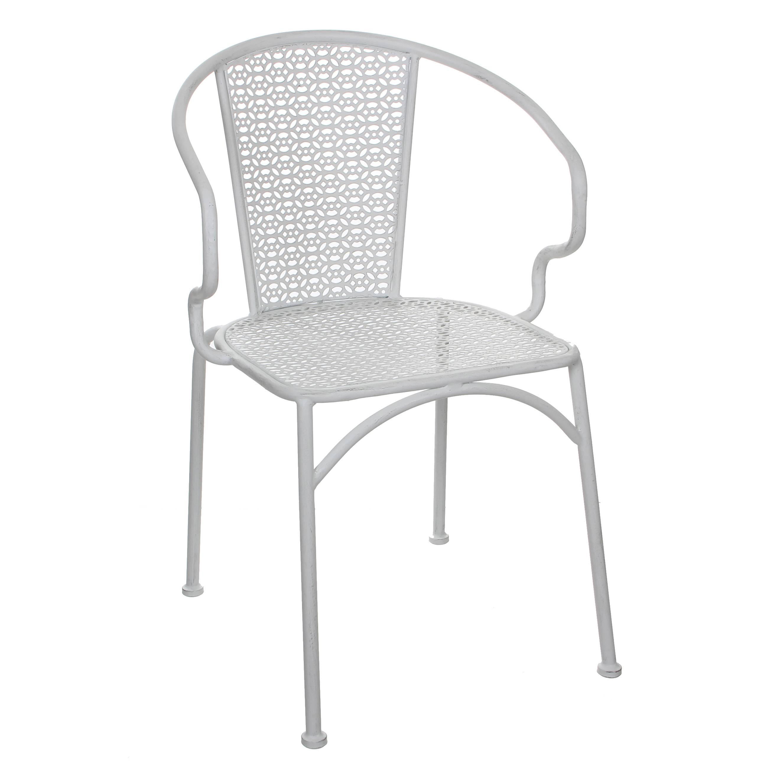 Chaise de Salon de Jardin Siège de Salon Intérieur Extérieur Fauteuil en  Métal Patiné Blanc 54x55x80cm