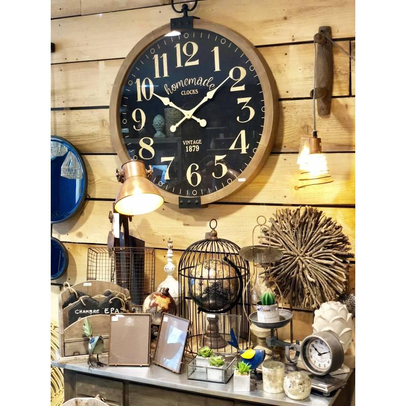Horloge g ante murale pendule ronde vitr e style industriel ou vintage en bois vieilli et fer for Horloge geante murale