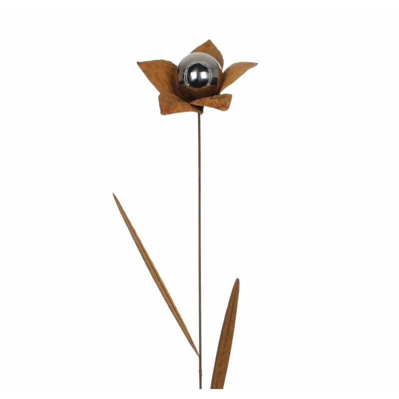 fleur sur tige tuteur piquer d coration florale branche avec feuilles d co de jardin en m tal. Black Bedroom Furniture Sets. Home Design Ideas