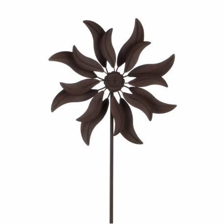 mobile pic tuteur de jardin eolienne moulin vent double h lices en fer patin marron. Black Bedroom Furniture Sets. Home Design Ideas