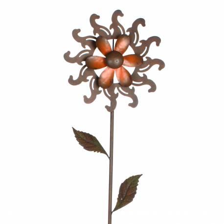 Eolienne Moulin à Vent Mobile Pic Tuteur de Jardin en Fer Patiné Marron et Hélice Fleur Couleur Rouge 28x28x120cm
