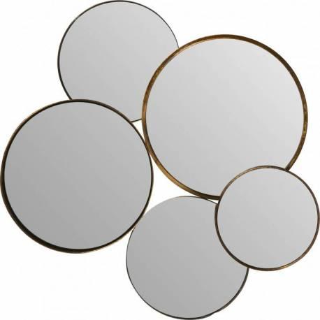 Miroirs Dorés Bulles Signé Athezza Ensemble de 5 Glaces Rondes Différents diamètres Deco Murale 3x50x54cm
