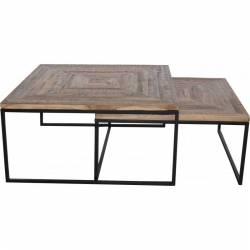 Table Basse Quadro Marque Hanjel Set de 2 Consoles Sellettes Guéridons 2 Dimensions en Teck et Métal 40x80x80cm