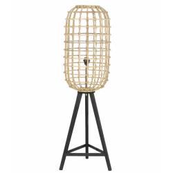 Luminaire d'Appoint NOAH Lampe Tendance sur Pied Lampadaire Cage en Bois et Rotin 36x36x125cm