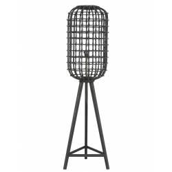 Luminaire d'Appoint NOAH Lampe Tendance sur Pied Lampadaire Cage en Bois et Rotin Couleur Noire 36x36x140cm
