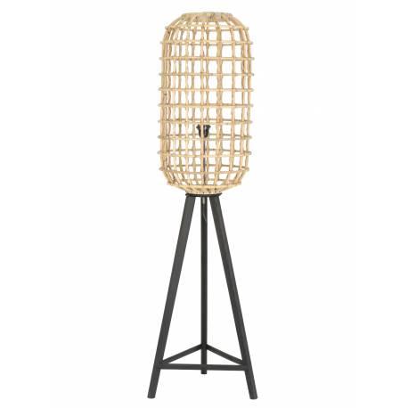 Luminaire d'Appoint NOAH Lampe Tendance sur Pied Lampadaire Cage en Bois et Rotin 36x36x140cm
