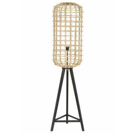 Luminaire d'Appoint NOAH Lampe Tendance sur Pied Lampadaire Cage en Bois et Rotin 36x36x150cm