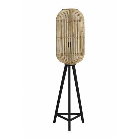 sur Pied Lampadaire Cage sur Pied TIBANA Luminaire d'Appoint Lampe Naturelle en Bois et Rotin 36x36x140cm