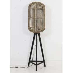 sur Pied Lampadaire Cage sur Pied TIBANA Luminaire d'Appoint Lampe Naturelle en Bois et Rotin Patiné Gris 36x36x140cm