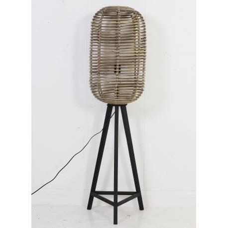lampadaire cage sur pied tibana luminaire d 39 appoint lampe naturelle en bois et rotin 36x36x140cm. Black Bedroom Furniture Sets. Home Design Ideas