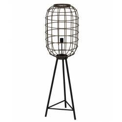 Eclairage Trépied TOAH Lampe sur Pied Industrielle Luminaire d'Appoint Moderne en Métal Patiné Bronze et Noir 35,5x35,5x125cm