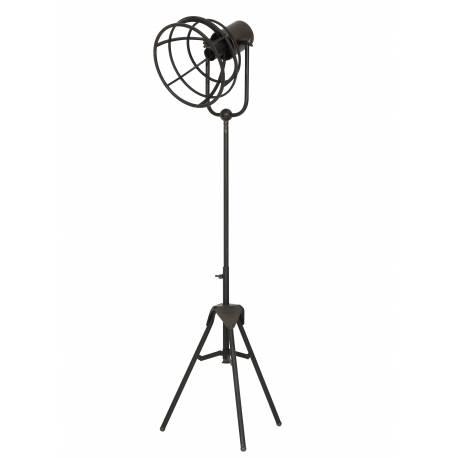 Lampe sur Pieds GUNAR Eclairage d'Appoint sur Trépied Projecteur Indus Tendance en Métal Patiné Bronze 27x27x123cm