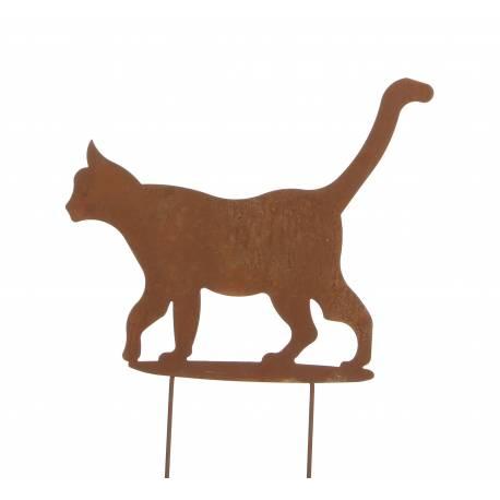 Chat à Piquer en Extérieur ou Intérieur Décoration de Jardin Ombre Silhouette Animal en Métal Oxydé 0,5x33x45,5cm
