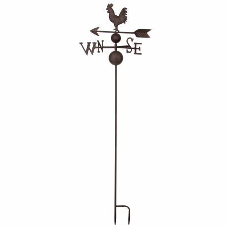 Girouette à Piquer avec 4 Points Cardinaux Décoration de Jardin Motif Coq et Flèche 2 Pics en Fer Patiné Marron 33x33x127cm