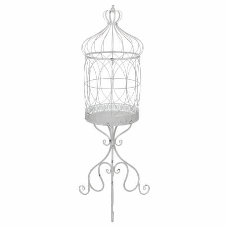 Grande Cage à Oiseaux Sur Trépied Intérieur Extérieur Ou Volière Décorative  Motifs Volutes En Métal Patiné