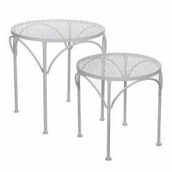 Console d'Appoint Bout de Canapé Guéridon Petite Table Basse Gigogne Sellette Rond en Fer Patiné Blanc 48x48x49cm