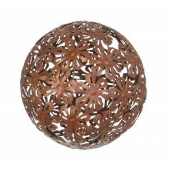 Boule Décorative Sphère Tendance Objet de Déco Contemporain avec Motifs Fleurs en Métal Oxydé 30x30x30cm