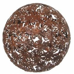 Boule Décorative Sphère Tendance Objet de Déco Contemporain avec Motifs Fleurs en Métal Oxydé 41x41x41cm