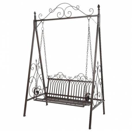 Balançoire pour Adultes et Enfants Mobilier de Jardin Balancelle de Charme en Fer Patiné Marron 90x157x230cm