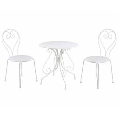 Salon de Jardin pour 2 Personnes Table Bistrot et 2 Chaises Salon de Thé 2 Places en Fer Patiné Blanc