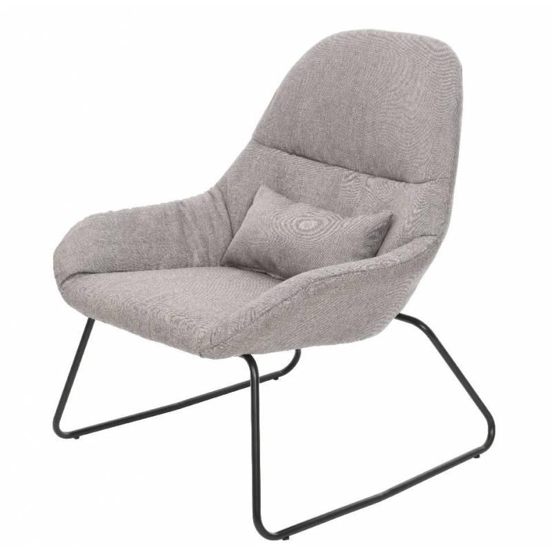 fauteuil de salon banquette 1 personne avec coussin si ge en m tal noir et tissu couleur gris. Black Bedroom Furniture Sets. Home Design Ideas