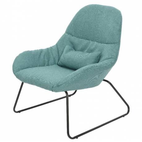 fauteuil de salon banquette 1 personne avec coussin si ge en m tal noir et tissu couleur bleu. Black Bedroom Furniture Sets. Home Design Ideas